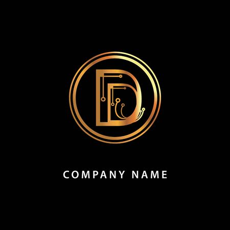 Monogram letter D, business . Vector golden isolated icon on a black background. Vettoriali