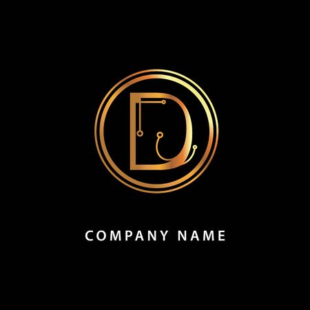 Letter D business  . Vector golden isolated icon on a black background.