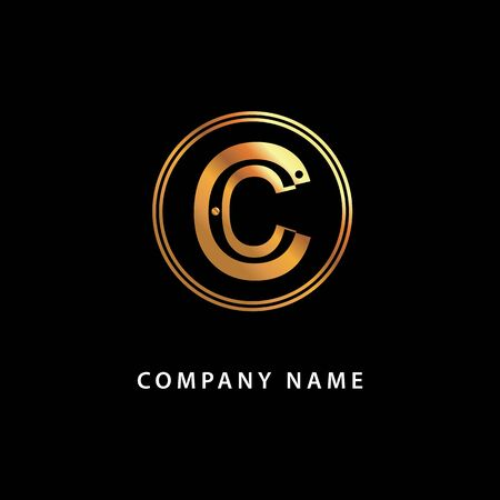 Letter C business . Vector golden isolated icon on a black background.