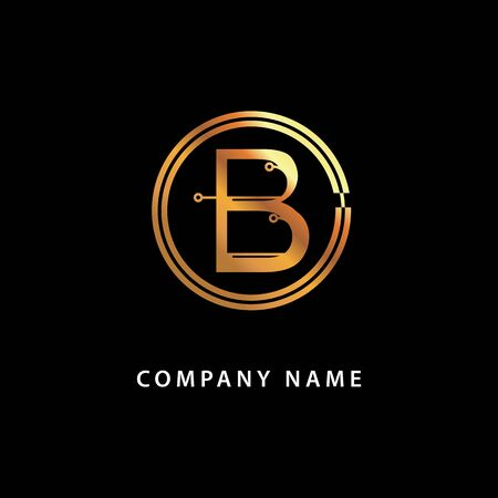 Letter B, business . Vector golden isolated icon on a black background. Vettoriali