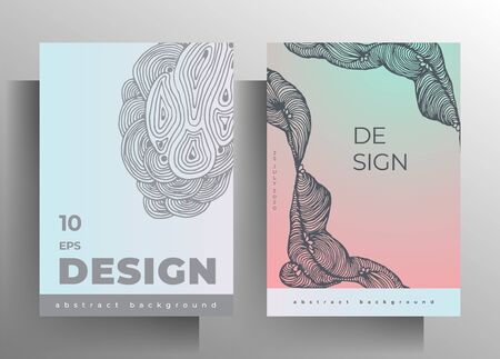 Cover set of templates for book, magazine, brochure, catalog, booklet, poster. Design in pastel colors with hand-drawn graphic texture elements. A4 format.