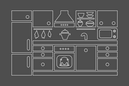 Kitchen furniture icon set.  Contour monochrome isolated vector illustration.