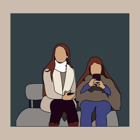 Girls on a bench in the waiting room. Vector color illustration.