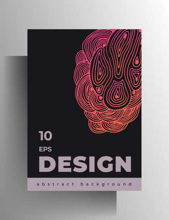 Cover design template for book, magazine, brochure, catalog, booklet, poster. Hand-drawn graphic texture elements. A4 format. . Vecteurs