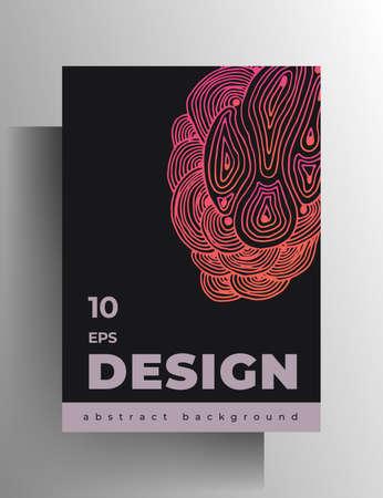 Cover design template for book, magazine, brochure, catalog, booklet, poster. Hand-drawn graphic texture elements. A4 format. . Vektoros illusztráció