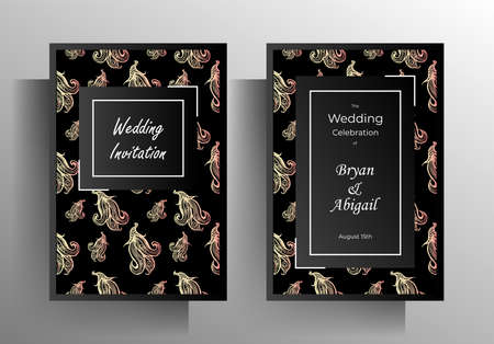 Wedding invitation template set. Design with hand drawn floral pattern.