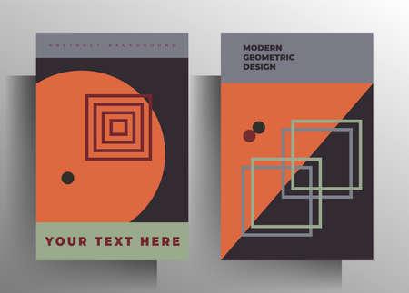 Cover for book, brochure, catalog, folder, magazine, poster template set. Geometric design in retro style. Vector illustration. A4 format. Ilustrace