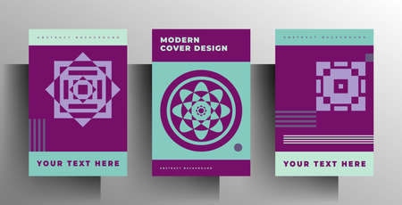 Geometric cover design for book, brochure, catalog, brochure, folder template set. A4 format. Color vector illustration.