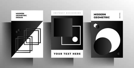 Cover for book, brochure, catalog, folder, magazine, poster template set. Geometric monochrome design. Vettoriali