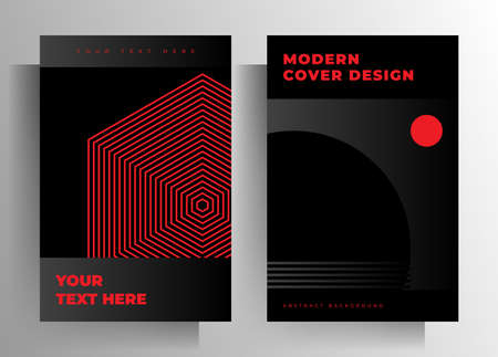 Cover for a book, magazine, brochure, catalog, booklet, poster. Geometric black and red design template set.