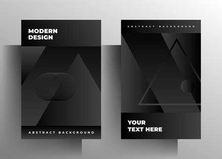 Cover for book, brochure, catalog, folder, magazine, poster template set. Geometric monochrome design.