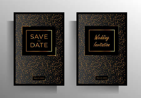 Wedding invitation template set. Austere, elegant design with a gold crumb on a black background. vector 10 EPS.