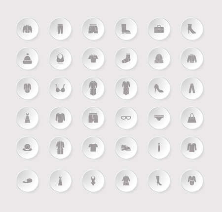 Clothes icon set for the store. Monochrome silhouette vector illustration.
