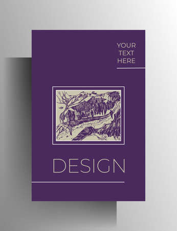 Cover for book, magazine, booklet, catalog, brochure, poster template. Bright design with hand-drawn graphics and frames. Vector 10 EPS. Vetores