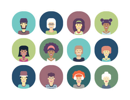Avatars set of funny characters. Men and women of different nationalities and ages. Vector isolated illustration.