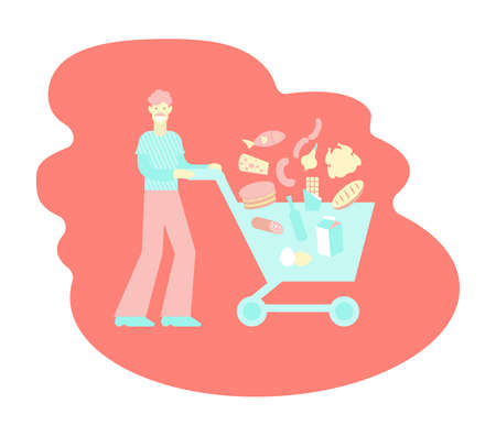 A man with a shopping trolley. Vector color flat isolated illustration for grocery supermarket.