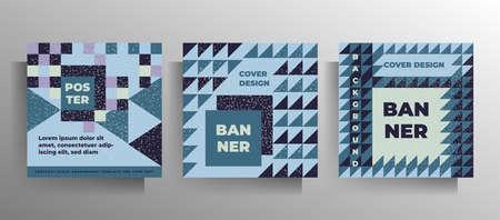 Geometric print cover design. Set of bright vector templates.