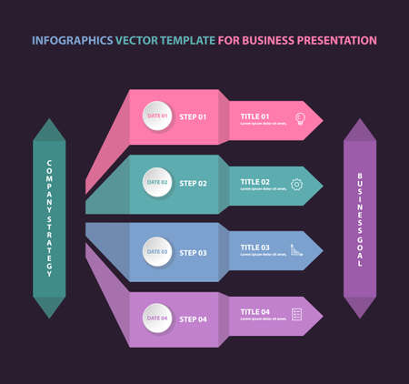 Infographics template for business presentation. Vector color illustration.