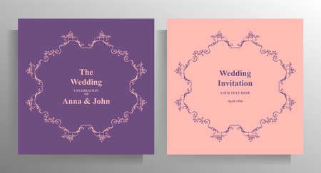 Design wedding invitation template set. Pastel illustration with hand drawn graphic elements. Vector.