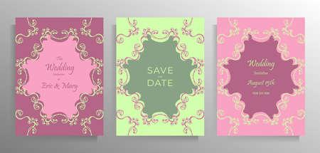 Design wedding invitation template set. Illustration in pastel colors with-hand drawn vintage frames. Vector. Standard-Bild