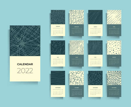 Calendar design for 2022. Hand drawn textures. Vector black and white illustration.