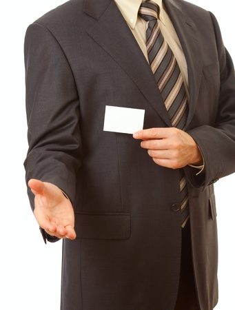 business card in businessman's hand Stock Photo - 10808643