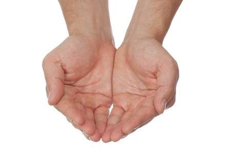 manos abiertas: abrir a manos de un hombre Foto de archivo