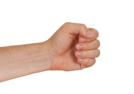 alzando la mano: Mano de un macho del C�ucaso para celebrar martillo, manojo de flores u otra herramienta, aislado en blanco
