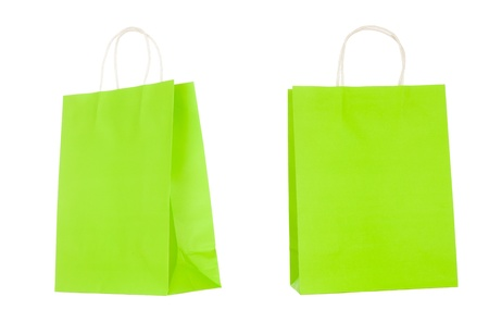 Recyclable paper bags isolated on white background photo