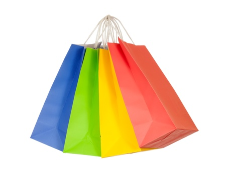 colored paper: Set of colored paper shopping bags