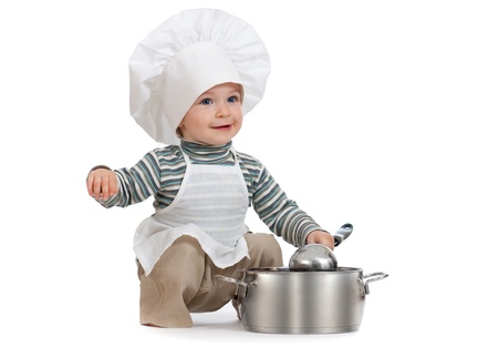 upbringing: kitchen boy with pan isolated on white