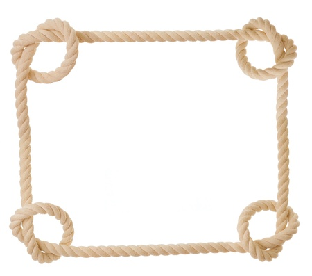 frame made from rope isolated on white photo