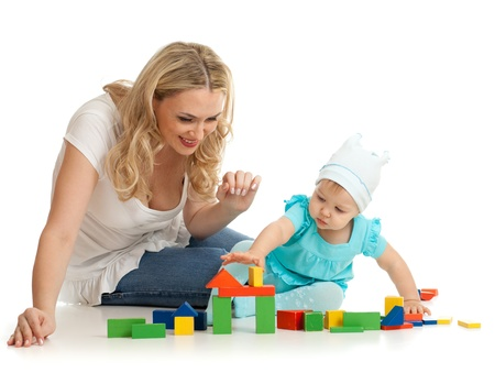 little girl and mother with building blocks Stock Photo - 11108177