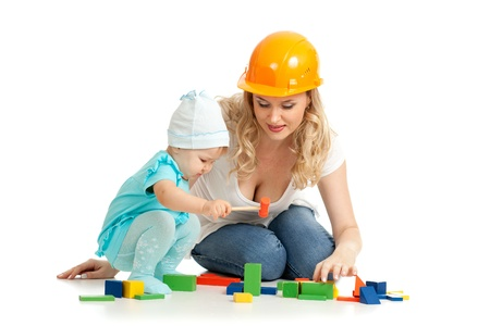 tapper: little girl and mother with building blocks