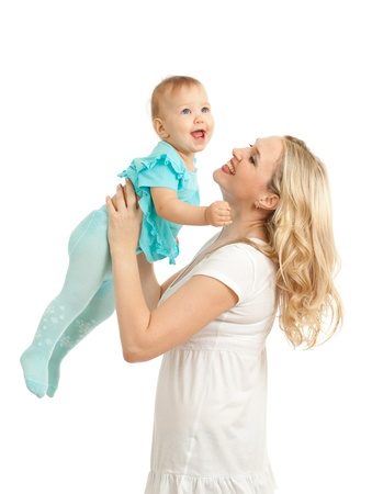 Portrait of loving mother and her child on white background photo