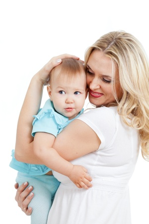 Portrait of loving mother and her child on white background Stock Photo - 11108180