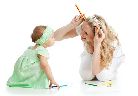 mother and her child fun games with color pencils Stock Photo - 11108179