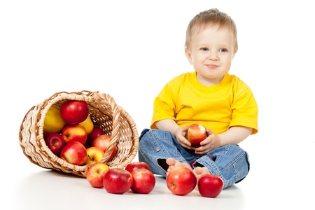 Child eating healthy food photo