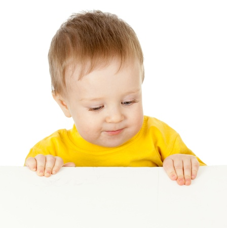 adorable child with blank advertising banner photo