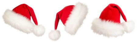 set of three Christmas Santa hats photo
