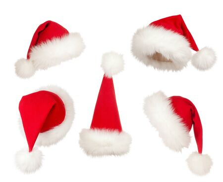 set of Christmas Santa hats photo