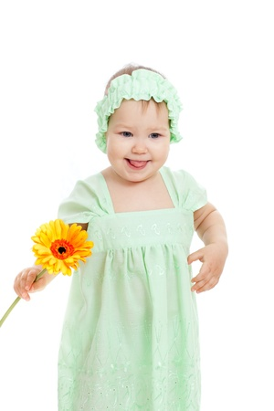 cute little girl with flower gift, isolated on white photo