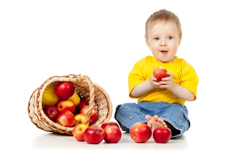 Little Child with healthy food photo