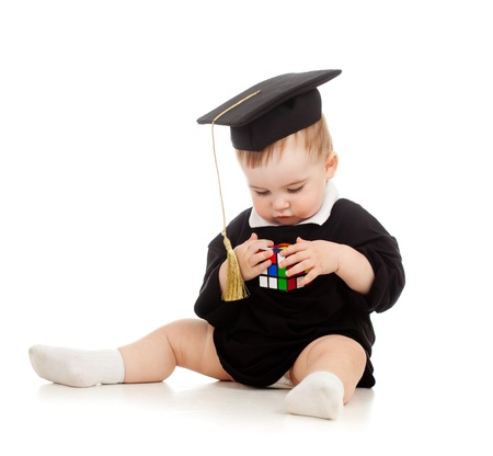 Baby in academician clothes  with Rubik