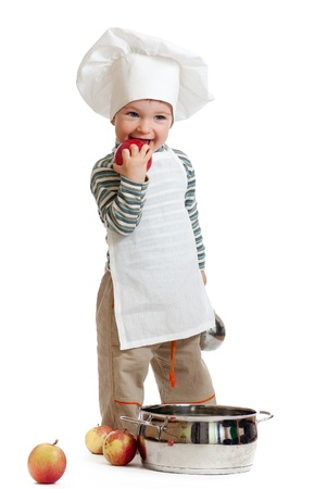kitchen boy with pan isolated on white photo