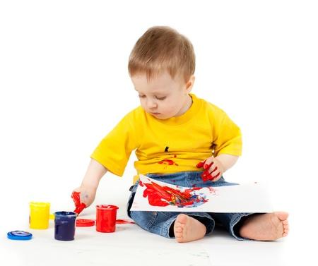 dibujo niño sucio con las pinturas de un dedo Foto de archivo - 11589279