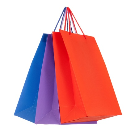 recycle bag: Set of colored paper shopping bags