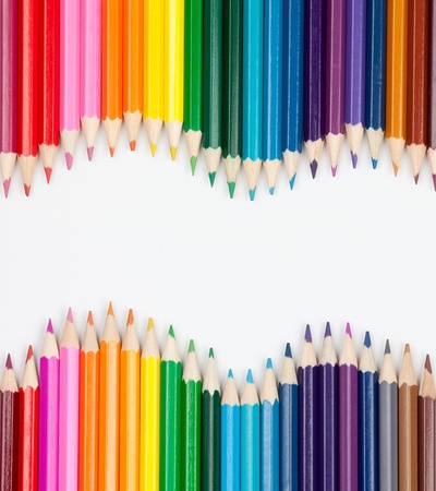 craft materials: set of color pencils wave-shaped