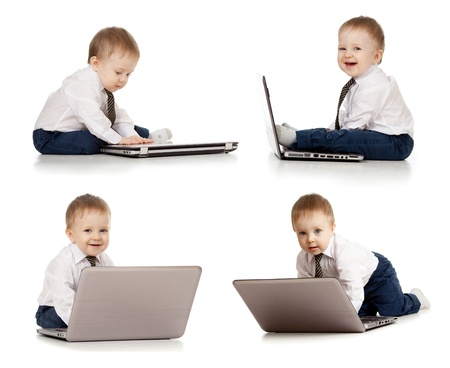 set of cute child using laptop photo