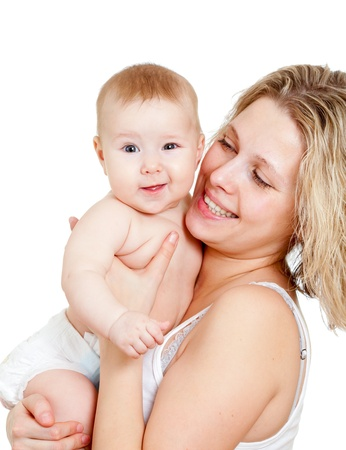 Portrait of loving mother and her child on white background Stock Photo - 11591569